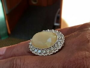 Creme' Faux Agate Large Framed Oval Ring, Clear Topaz Crystal Surround Size O1/2