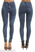 NEW LADIES SUMMER BLUE ACID WASH HIGH WAISTED SKINNY JEANS 6 8 10 12 14