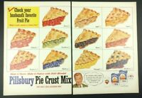 "Vtg. 1950's Pillsbury Pie Crust Mix Print Ad (14""x10"" each) 1A Apple Blueberry"
