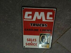 "Porcelain GMC Trucks Enamel Sign Size 7"" x 5"" Inches"
