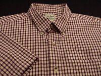 L.L. Bean Mens XL Short Sleeve Button-Down 100% Cotton Multicolor Plaid Shirt