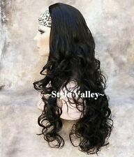 Brown Black 3/4 Fall Hairpiece Half Wig cap Long Curly Layered Hair Piece NEW