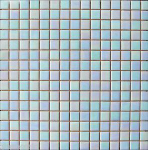 1 m² Glasmosaik Mosaik Fliesen WEIß BLAU Dusche/Pool PERLMUTT EFFEKT *NEU*(WA13)