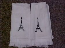 Embroidered Eiffel Tower towels - White/Black