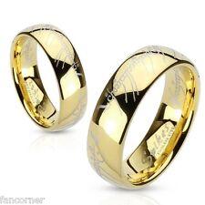 Anneau unique acier inoxydable plaqué or gravure laser 57 Lord's gold ring 8