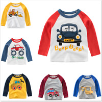 Baby kids Boys Tops Long Sleeve T-shirt Cartoon Car Autumn Clothing Children