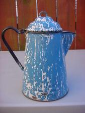 VINTAGE BLUE SWIRL GRANITEWARE COFFEE POT