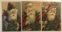 Rare ~Set of 3 SANTA CLAUS with Toys~Pine Branches~Antique Christmas Postcards