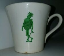 ORIGINAL JOLLY GREEN GIANT COFFEE CUP / MUG FROM 1950'S EARLIEST VERSION W LEAF