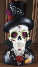 """11"""" Day of the Dead- Sugar Skull in Top hat Bust with LED Eyes"""