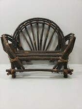 Primitive Rustic Doll Teddy Bear Bench Sofa Bent Sticks Wood Handmade