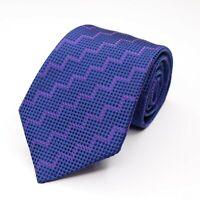 "Turnbull & Asser Men's Silk Blue Polka Dot Zig Zag Vivid Necktie 58"" L x 3.75"" W"