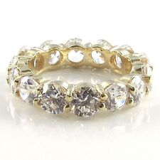 R01160 YG 14K 7ct tw 0.5ct Each Round CZ Prong Set Eternity Band Ring