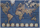 11x15.5+World+Map+International+Short+Wave+Radio+Stations+Ham+Art+Poster+c1930