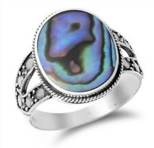 Ring Genuine Sterling Silver 925 Abalone Shell Jewelry Face Height 18 mm Size 8