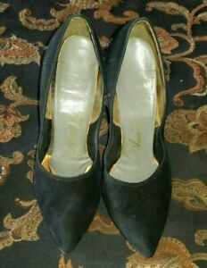 `1950's Vintage Glamour Sexy Pointy Black Bad Girl Suede High Heels~ 6