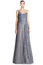 Rene Ruiz Floral Applique Rhinestone Embellished Tulle Evening Gown Dress Sz 6