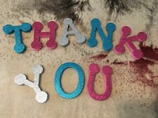 New listing Lot Oversized Glitter Sparkly Thank You letters Blue Pink crafts Card Silver