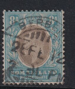 Somaliland KEVII 1911 8A Black Blue SG52a used with CDS
