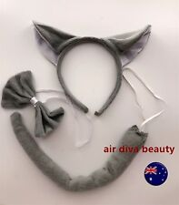 Women Kid Child Fox Wolf Grey Ear Costume tail Party Hair head band Prop set