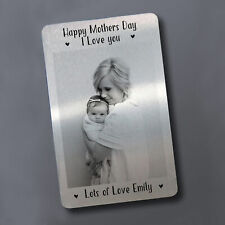 Personalised Mothers Day Metal Card Photo Gift For Mum Keepsake Daughter Son