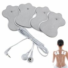 2Pairs 4Pcs Replacement Electrode Pads For Tens Massager Units + Lead Cable Wire