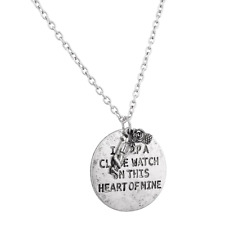 I Keep A Close Watch On This Heart Of Mine Gun Rose Flower Inspiration Necklace.