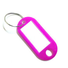 Plastic Keyring Assorted Key Chain Tags Split ID Name Card Ring Label Language