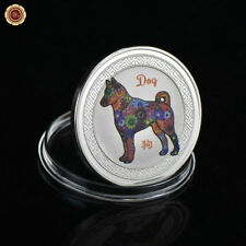 WR Chinese Zodiac 2018 Lunar Year of the Dog Colored Silver Coin Lucky Kid Gifts