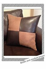 Accent Decorative leather pillow brown fabric suede throw case cover