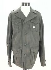 EUC $348 DIESEL Military Blazer Jacket Green Army Zip/Button Mens Patches XL **