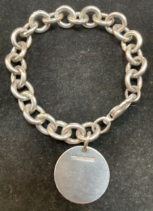 """Tiffany Sterling Silver Link Bracelet with Tag Engraved  """"A.F.W."""" 7 1/4"""""""