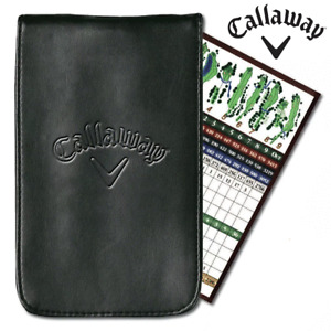 CALLAWAY DELUXE PU LEATHER GOLF SCORE CARD HOLDER +EMBOSSED CALLAWAY LOGO