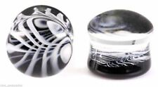 """PAIR-Pyrex Glass Black/White Double Flare Ear Plugs 12mm/1/2"""" Gauge Body Jewelry"""