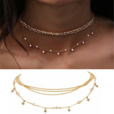 Hot Multilayer Choker Necklace Crystal Star Chain Gold Summer Women Jewelry New