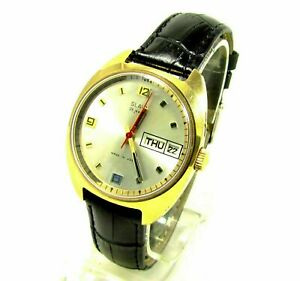 Slava 26 Jewels Calendar Mens Wrist Watch Vintage USSR Rare Serviced & Oiled