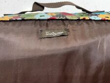 """Thirty-One Picnic Blanket Fold Up Handle Take Along Floral Red Brown 38x59"""" B2"""