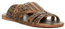 NIB Bed|Stu Diaz Woven Leather Women's Sandal Black Lux Brown Size US 6, EU 36