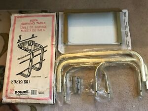 VINTAGE 1987 POWELL SOFA SERVING TV TRAY/TABLE BRASS GLASS NEW IN OPEN BOX 808GQ