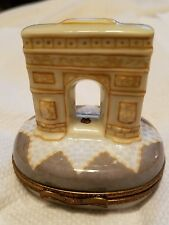 Limoges peint mein signed trinket box Arc de triomphe Arquie Made In France New