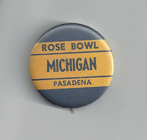 1965 Michigan Wolverines Rose Bowl button vintage original pin NCAA football