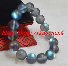 Natural 10mm Gray Gleamy Rainbow Moonstone Round Gems Beads Bracelets 999