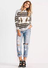 Jen's Pirate Booty Alpaca Sun Valley Sweater Grey, Brown M/L