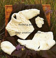 (259) Knitting Pattern for Boys Girls Aran Jacket, Sweater, Hat, Mittens, 0-10yr