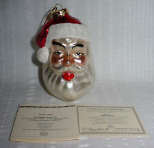 Norman Rockwell Collection Santa Claus Blown Glass Tree Ornament New With Coa
