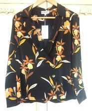 Neon Rose Floral Print Blazer Shirt / Jacket Black Brown New Size Small 8
