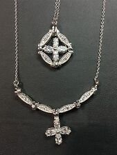 Patented Convertible 2 in 1 Changeable Flower / Cross Pendant Necklace