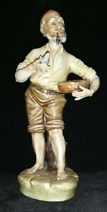 Vintage Capodimonte Figurine Old Man With Pipe Selling Fish
