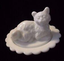 Milky White Cat Nest Salt Dip Butter Cream Glass Kitty Nest Kitten Salt