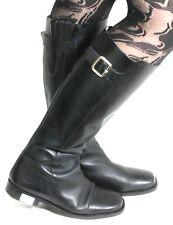 Stiefel Leder Damenstiefel Vintage Apart Zipper Schnalle Blockabsatz Gothic 38